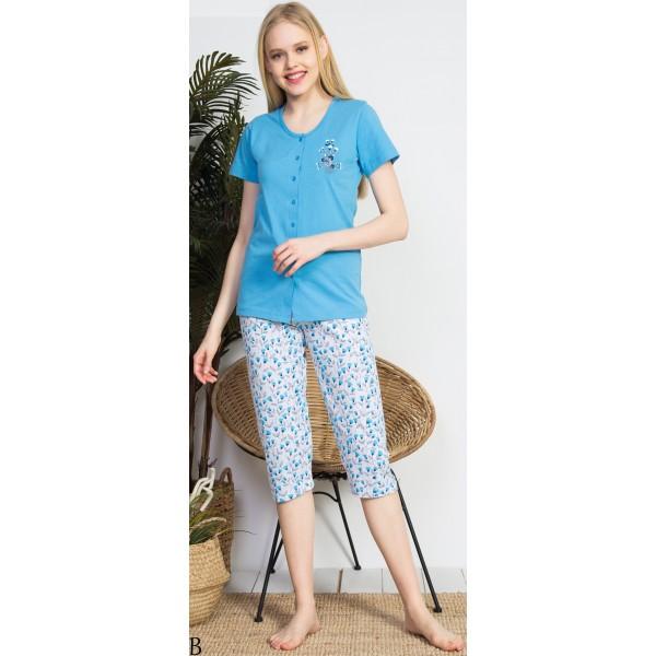 Pijama Pirata Maga Corta Mujer Chaqueta Flores