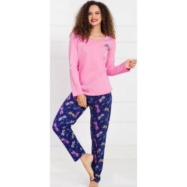 Pijama Largo Manga Larga Mujer Mariposa Libelula