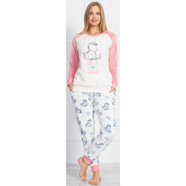 Pijama Largo Manga Larga Coralina Mujer Uniconrio