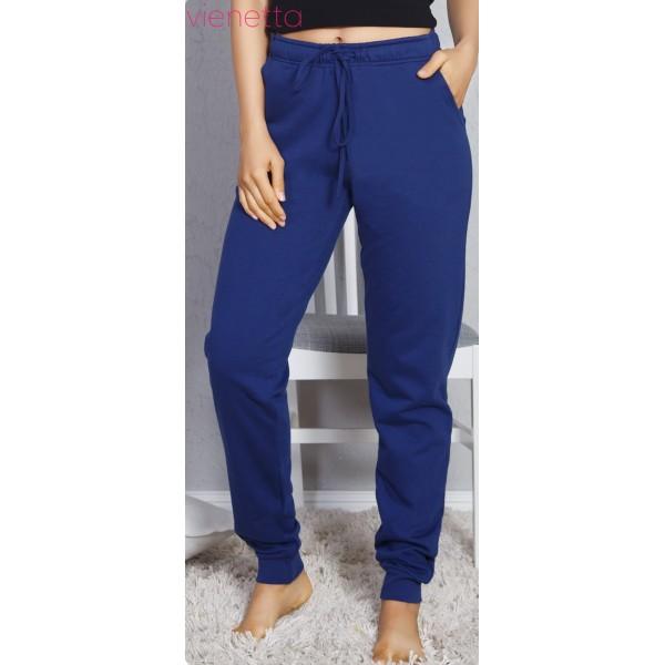 Pantalon Perchado/Felpa Mujer Marino Bolsillos