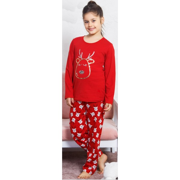 Pijama Manga Larga Niña Reno Dorado