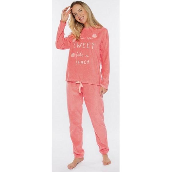 Pijama Largo MicroPolar Manga Larga Mujer Puño Sweet