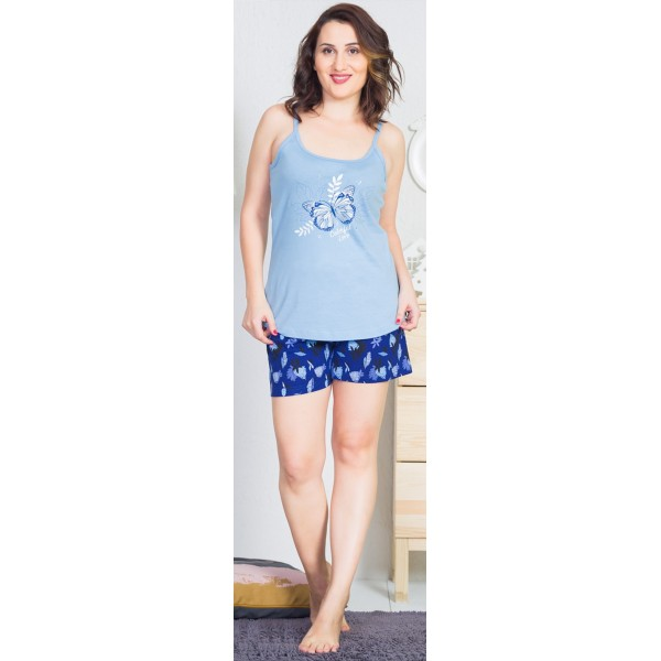 Pijama Talla Grande Corto Tirantes Mujer Mariposa en Rama