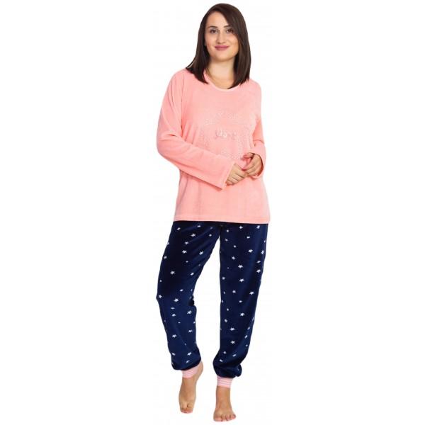 Pijama Talla Grande Terciopelo/Tundosado Largo Manga Larga Estrellas