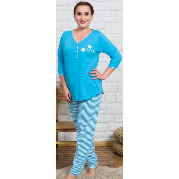 Pijama Talla Grande Largo Manga 3/4 Mujer Rayas Turquesa
