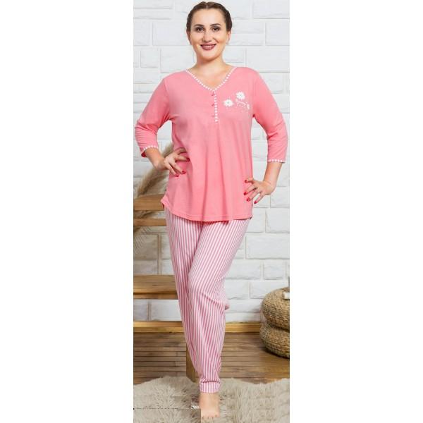 Pijama Talla Grande Largo Manga 3/4 Mujer Rayas Rosa