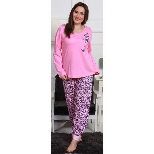 Pijama Talla Grande Largo Manga Larga Mujer Machas Tigre