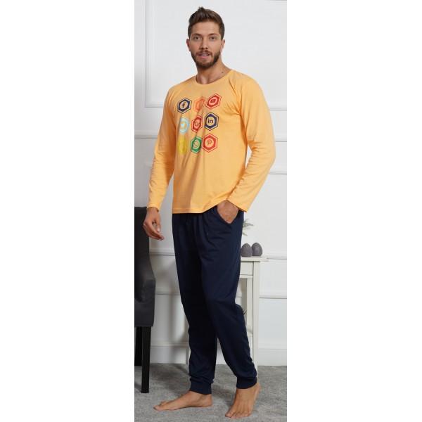 Pijama Hombre Largo Manga Larga Redes Amarillo