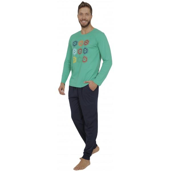 Pijama Hombre Largo Manga Larga Redes Verde