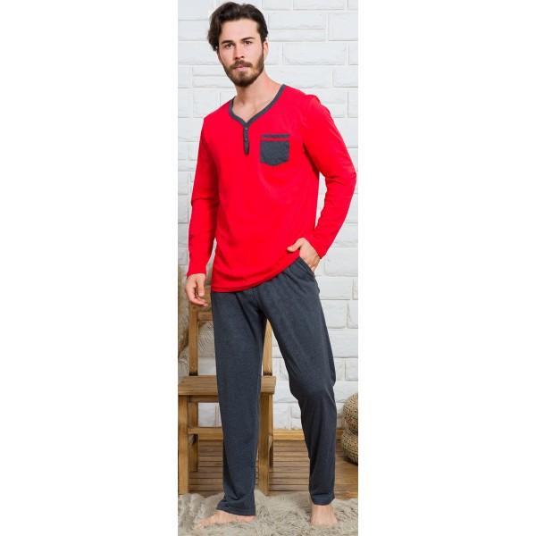 Pijama Hombre Largo Manga Larga Liso Bolsillo Rojo