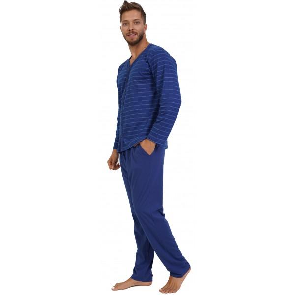 Pijama Talla Grande Hombre Largo Manga Larga Chaqueta Rayas