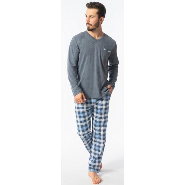 Pijama Talla Grande Hombre Largo Manga Larga Pantalon Cuadros Bolsillo