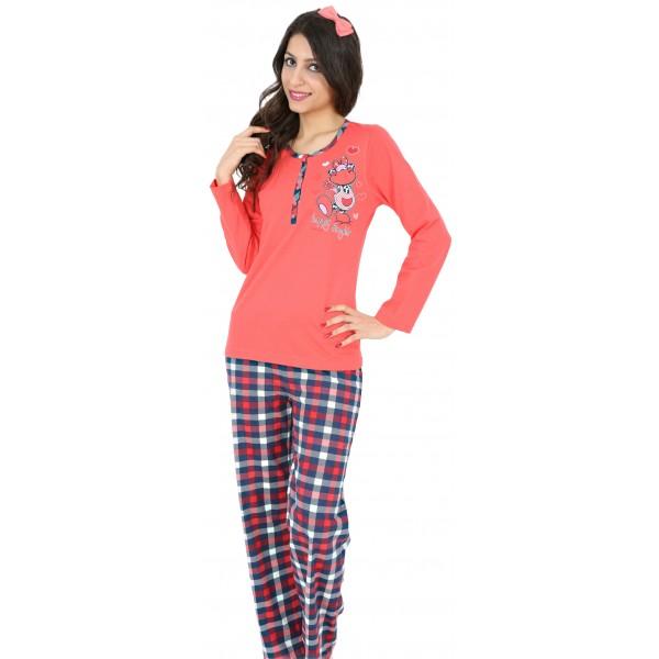 Pijama Largo Manga Larga Mujer Vaca Botones