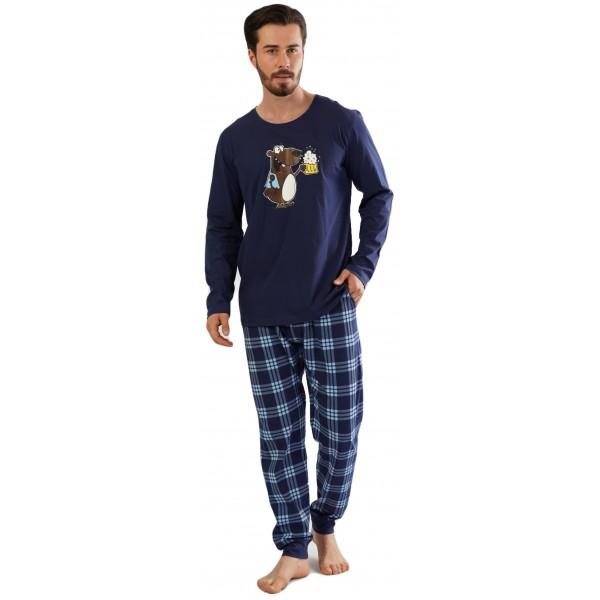 Pijama Hombre Largo Manga Larga Oso Caña