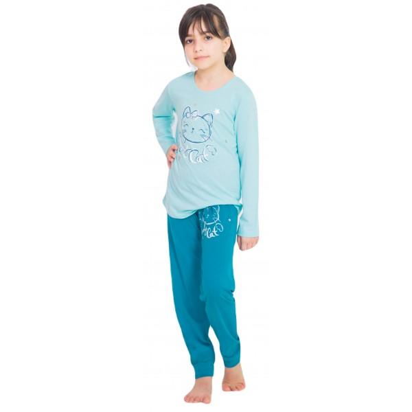 Pijama Manga Larga Niña Puño Gatito