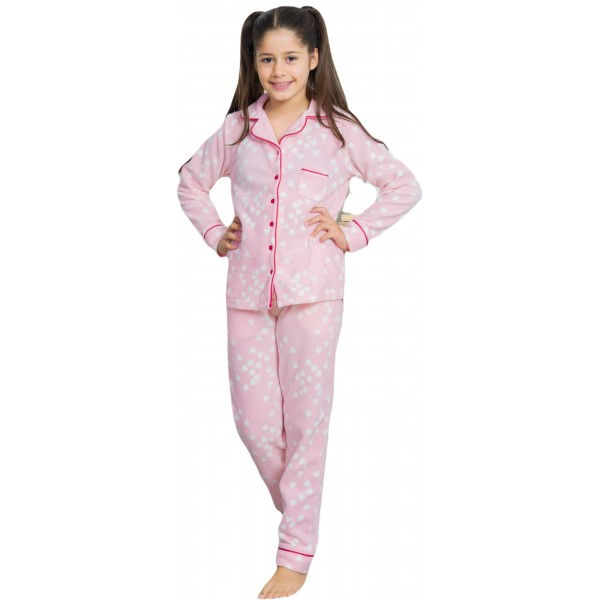 Pijama Polar Chaqueta Manga Larga Niña Rosa
