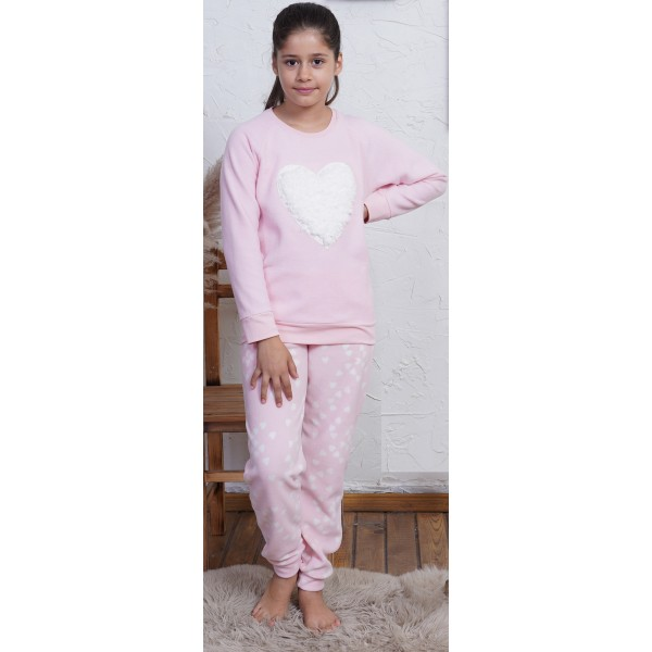 Pijama Polar Manga Larga Niña Puño Corazon Rosa