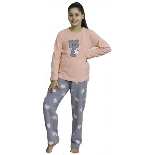Pijama Polar Manga Larga Niña Oso Estrellas