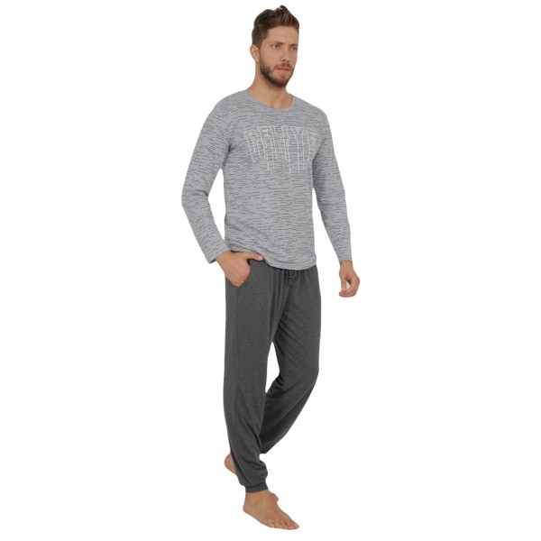 Pijama Hombre Talla Grande Largo Manga Larga Gris Jaspeado