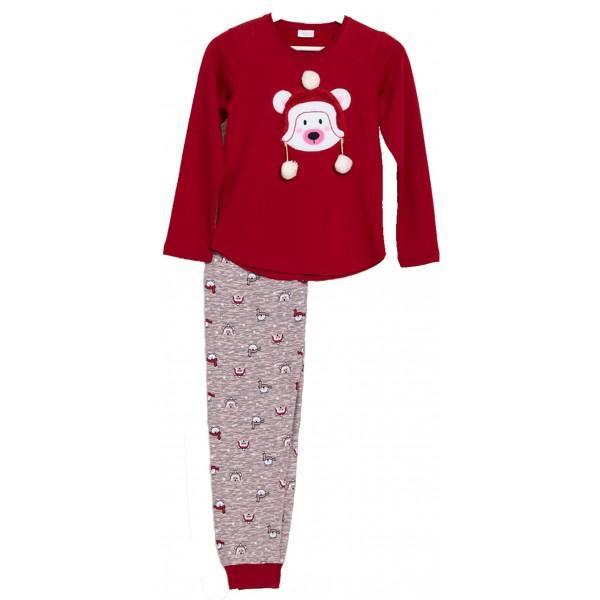 Pijama Perchado/Felpa Manga Larga Niña Oso