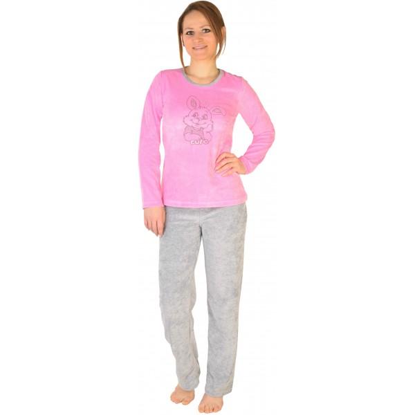 Pijama Terciopelo Largo Manga Larga Mujer Conejo Tundosado