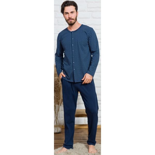 Pijama Hombre Largo Manga Larga Chaqueta Clasico