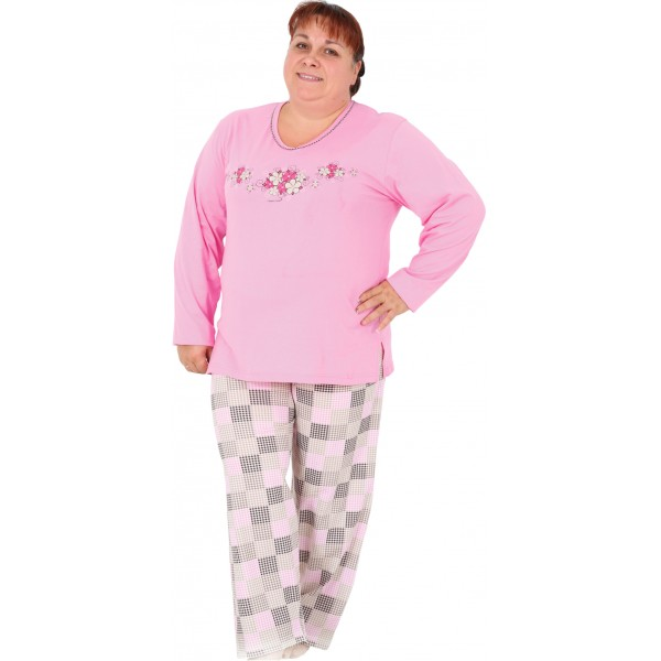 Pijama Talla Grande Largo Manga Larga Mujer Flores