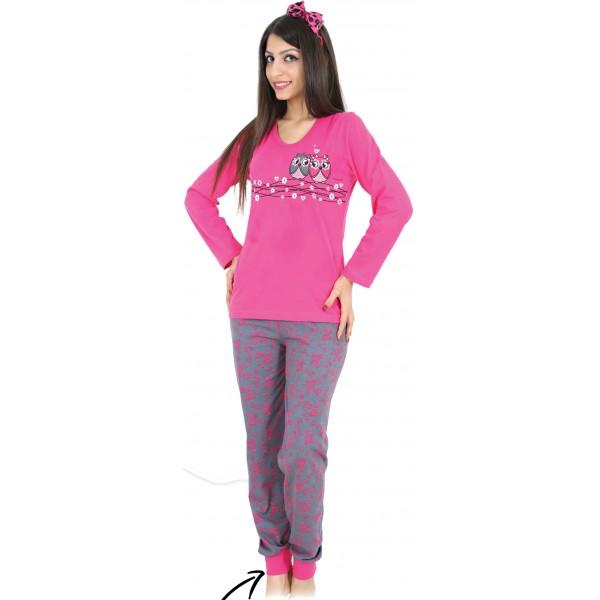 Pijama Largo Manga Larga Mujer Buhos Corazones