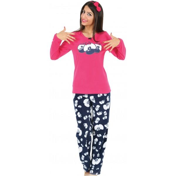 Pijama Polar Largo Manga Larga Mujer Ojos