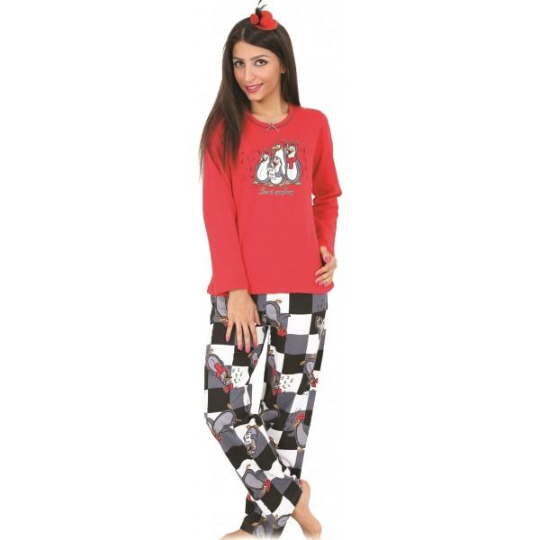 Pijama Perchado/Felpa Largo Manga Larga Mujer Familia Pingüino