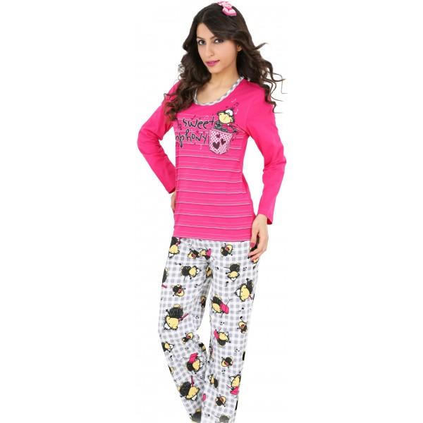 Pijama Largo Manga Larga Mujer Pajaro Violin