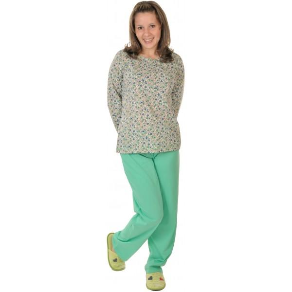 Pijama Largo Manga Larga Mujer Clasico Fruncido