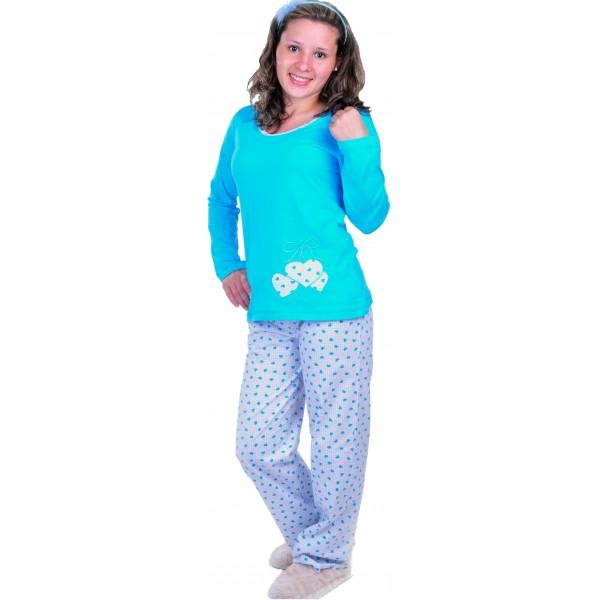 Pijama Largo Manga Larga Mujer Corazones