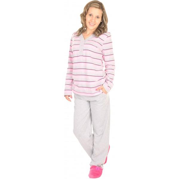 Pijama Largo Manga Larga Mujer Rayas Boton