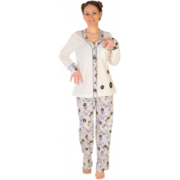 Pijama Largo Manga Larga Chaqueta Mujer Flores