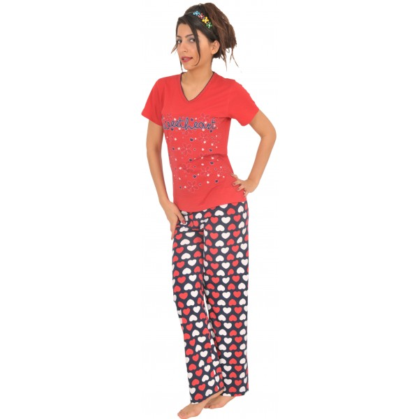 Pijama Largo Manga Corta Mujer
