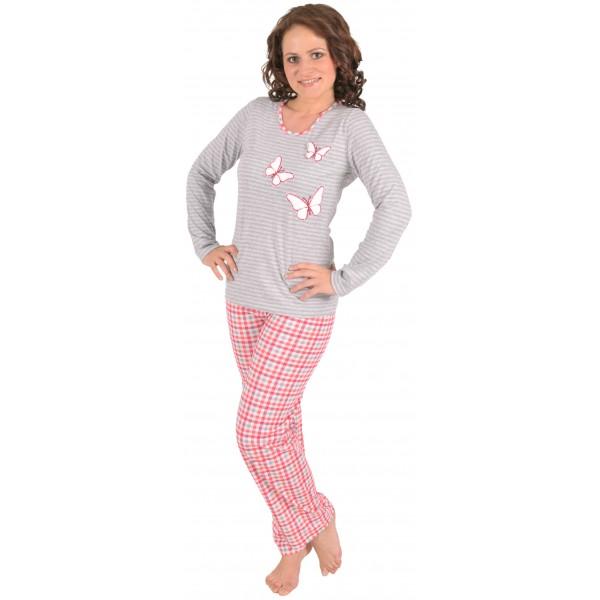 158107688 Pijama Largo Manga Larga Mujer Mariposas - Moda y Pijamas