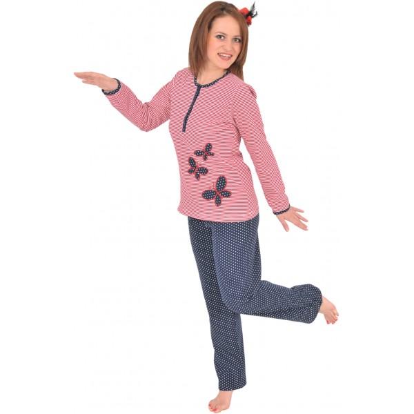 Pijama Perchado/Felpa Largo Manga Larga Mujer Mariposas Marinero