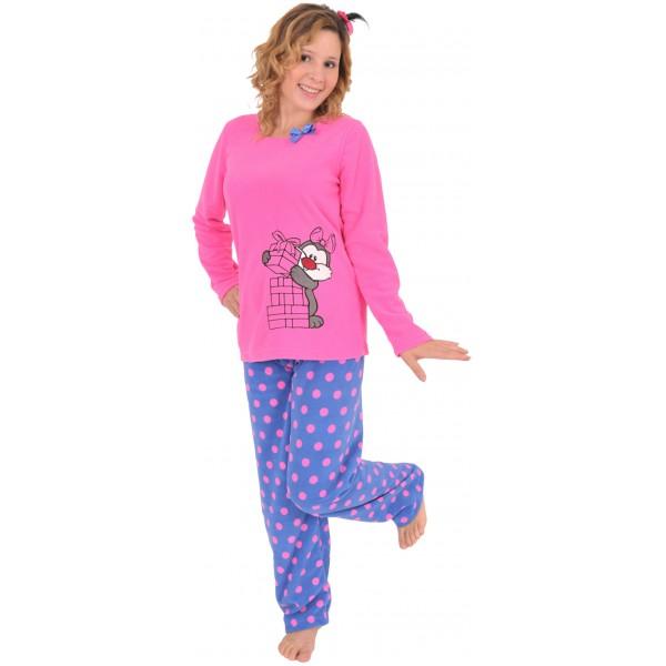 Pijama Polar Largo Manga Larga Mujer Lunares
