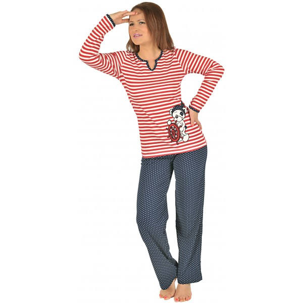 Pijama Largo Manga Larga Mujer Marinero