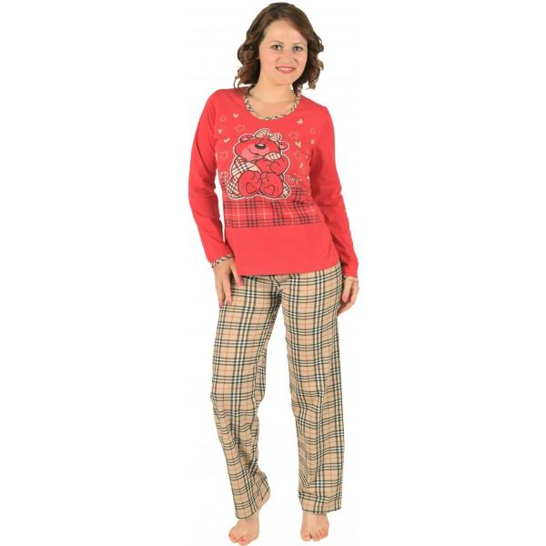 Pijama Largo Manga Larga Mujer Oso Amoroso