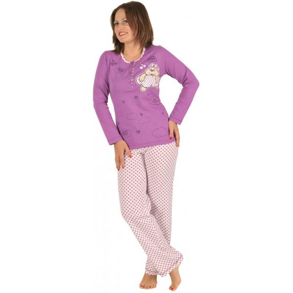 Pijama Largo Manga Larga Mujer Oso Nube