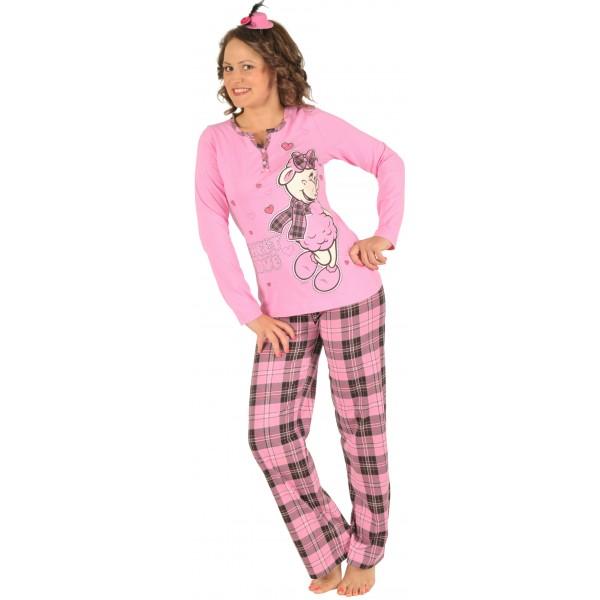 Pijama Largo Manga Larga Mujer Oveja Boton