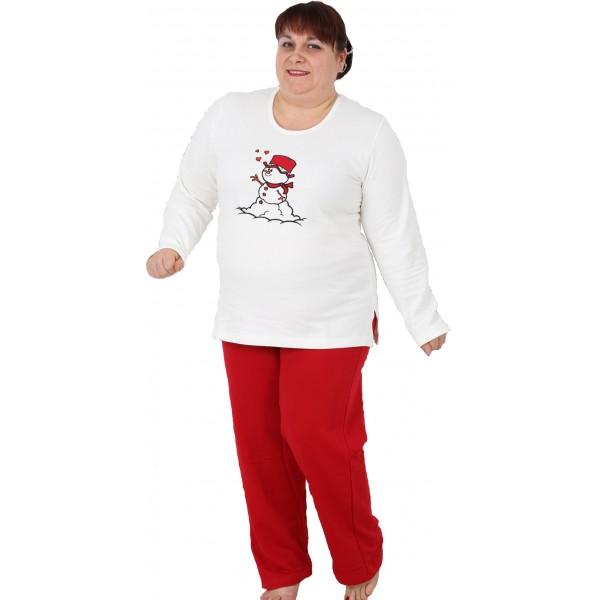 Pijama Talla Grande Perchado/Felpa Largo Manga Larga Mujer Muñeco de Nieve
