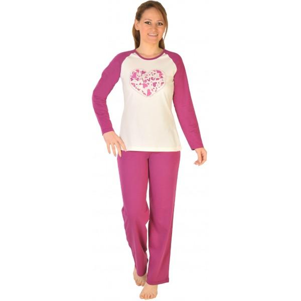 Pijama Largo Manga Larga Mujer Corazon-Flor